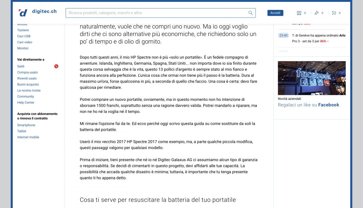 Swiss German to Swiss Italian | Digitec Galaxus | DYI Replace Laptop Battery
